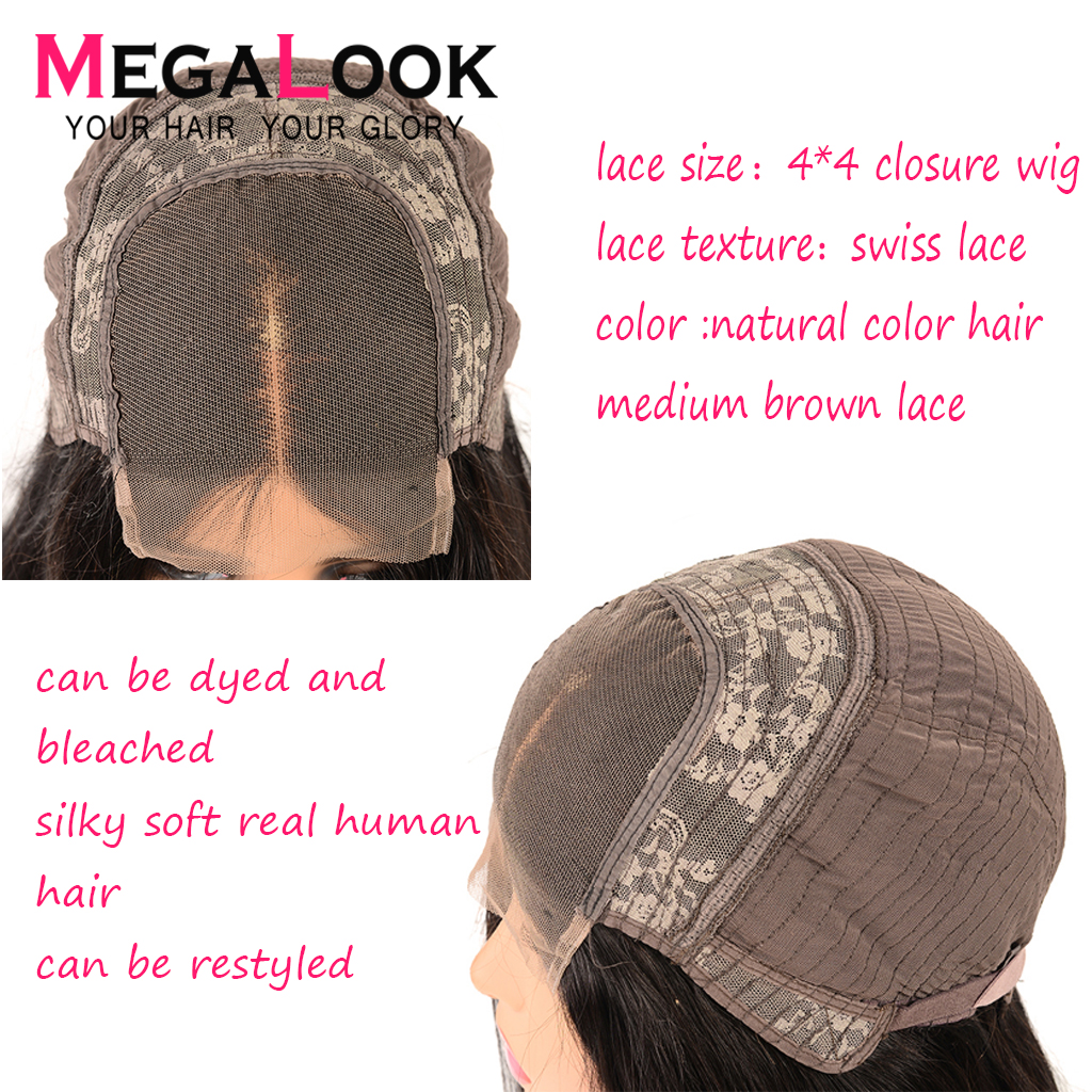 Megalook 4*4 Closure Wig Straight 180% Density Natural Black Color 100% Remy Hair 30 inch Brazilian Wig Human Hair Wig