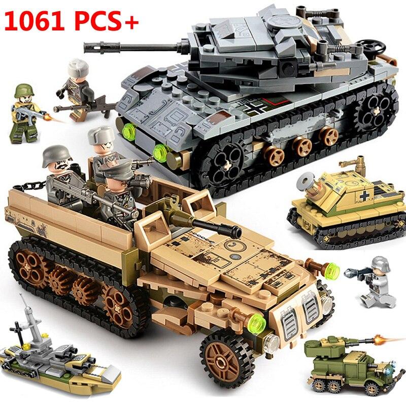 1061 pièces ville WW2 Chariot camions assaut réservoir blocs de construction technique arme guerre créateur armée soldats militaires jouets pour les enfants