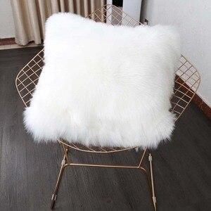 Cojín de piel sintética para decoración del hogar y la Oficina, almohada lumbar para sofá de lana tartifial almohada decorativa para el hogar asiento del coche envío gratis