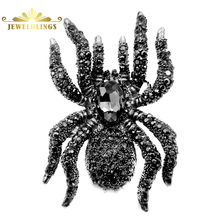 Vintage Statement 10-Legged Large Black Spider Brooches Silver Tone Pave Black Crystal Oversize Spider Pin Dangerous Bug Jewelry
