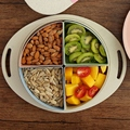 Практичная коробка для конфет из пшеничной соломы  поднос для фруктов  тарелка с ручкой  креативные 4 отделения с крышкой  вечерние принадле...