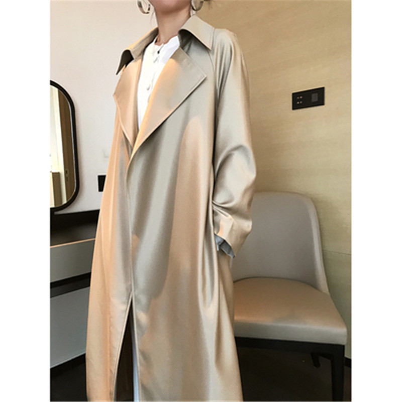 Fashion Metallic Lustre Long Coat Pockets Women Long Sleeve Elegant Vertical   Trench   Office Lady Plus Size   Trench   Coat