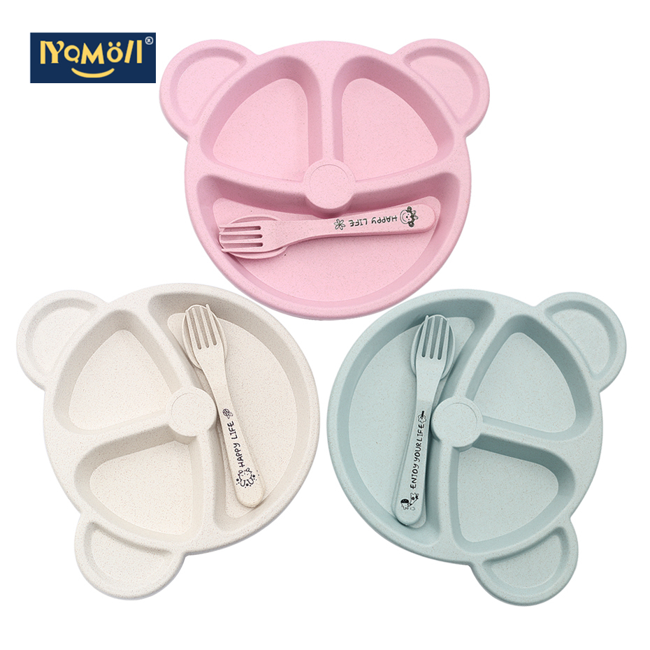 3Pcs Baby Bamboo Tableware Bowl Spoon Fork Feeding Food Dinnerware Set Cute Cartoon Panda Children Dishes Newborn Plates