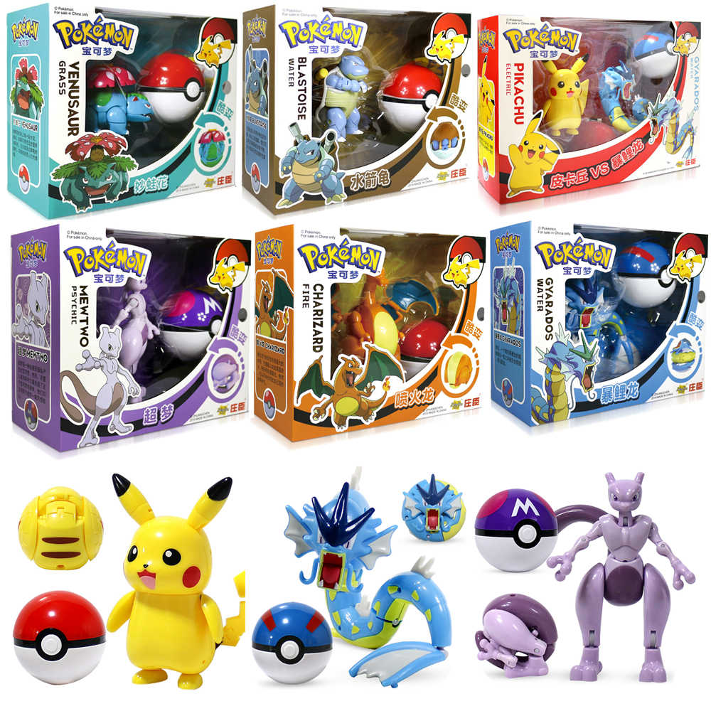 Takara Tomy Pokemon Pokeball Set Pop-Up Elf Bola Mainan TAKARA TOMY Asli Pokemon Rakasa Elf Bola Pikachu Anak hadiah