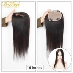 Doreen 16 дюймов шелковая основа для волос Топ для женщин парик для волос с 4 клипсами 3 слоя шнурка Remy человеческие волосы парик