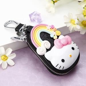 Модный черный мультяшный брелок Hello Kitty, изысканный кожаный кошелек на молнии, брелок, Женская сумочка, кошелек, подвеска, ювелирные изделия