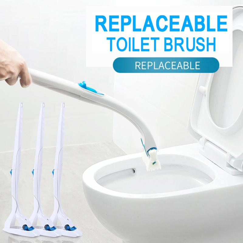 Disposable Toilet Cleaning Brush Set Replaceable Brush Head Bathroom Toilet Bowl Cleaner Tool(Handle+Hanger+ 12 Refill)