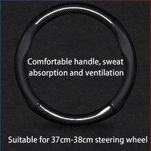 Diy todo o preto volante de couro ponto vermelho sem envoltório camurça capa apto para porsche 911 986 996 carrera boxster s 1998