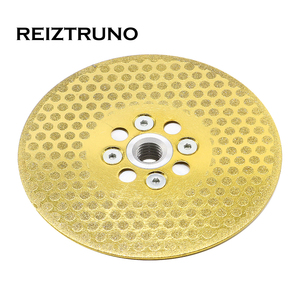 """Image 4 - REIZTRUNO 5"""" Double Sided Marble Diamond Blade with Quad Adapter Electroplated continuous Turbo Blade for cutting shaping marble"""