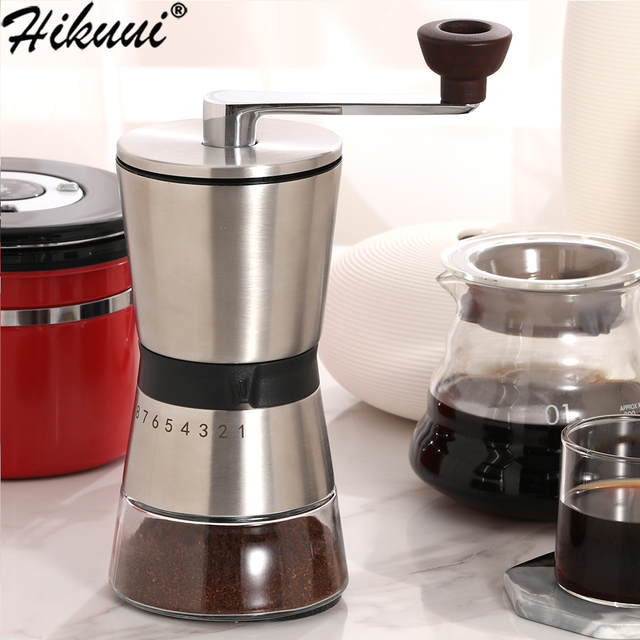 75g Manual Coffee Grinder Stainless Steel Ceramic Precision 8 Adjustment Brewing Coffee Mill,Coffee Bean Grinder