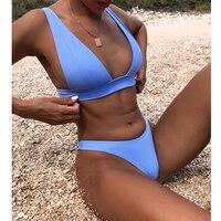 New Sexy Bikini 2021 Solid Swimsuit Women Swimwear Push Up Bikini Set Brazilian Bathing Suit Summer Beach Wear Swimming Suit XL 1