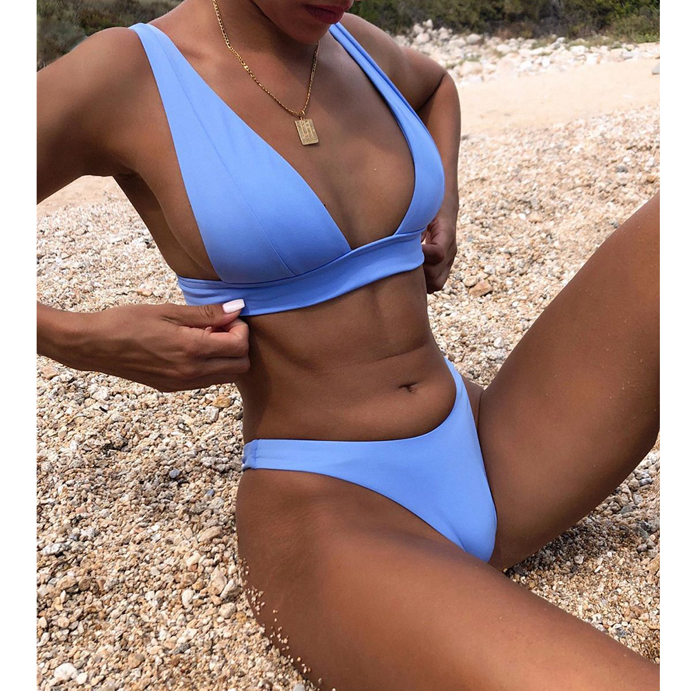 New Sexy Bikini 2021 Solid Swimsuit Women Swimwear Push Up Bikini Set Brazilian Bathing Suit Summer Beach Wear Swimming Suit XL