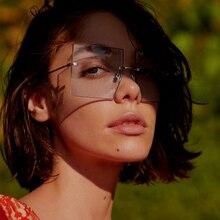 women rimless sunglasses square Brand designer clear shades
