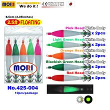 MORI Japan Squid Jigs Hook Lure Bait Floating Suttee 8.5cm 3.35in 2.5# Noctilucent Luminous Fluoresce 10pcs/pack 5colours