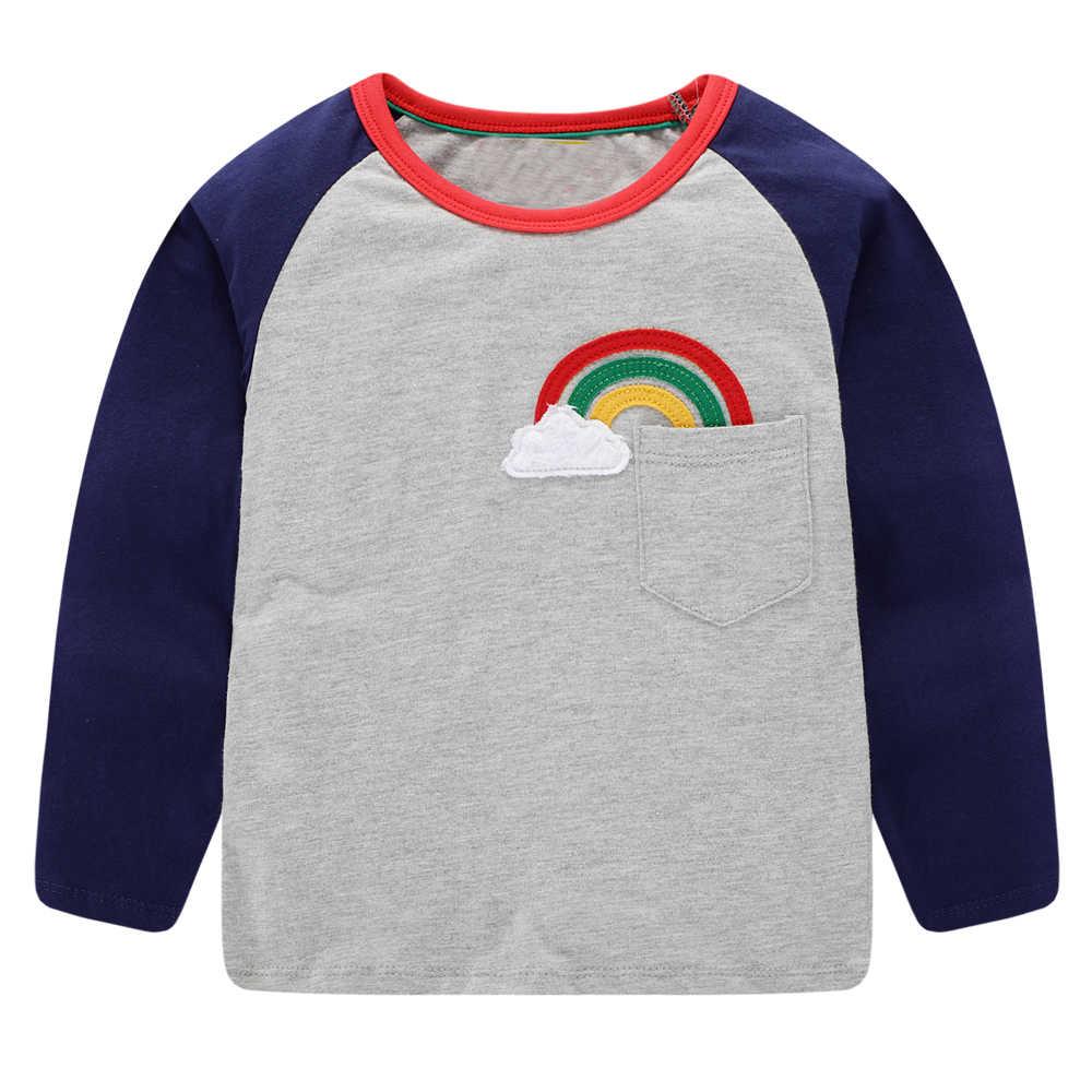 Kidsalon Crianças camisas de T para Meninos Roupas de Bebê Menino Encabeça Outono 2019 Novas Crianças T-shirt Animal Applique Algodão Meninos Tees camisas