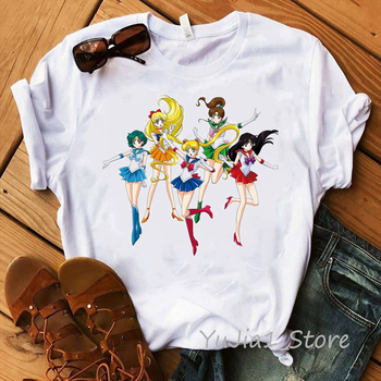 Kawaii Sailor Moon Harajuku T Shirts Women Ullzang Korean Style Cute T-shirt 90s Aesthetic Tshirt Graphic Funny Top Female Tees perfume bottle watercolor hand t shirt women harajuku anime t shirt 90s korean style tshirt graphic aesthetic top camiseta mujer