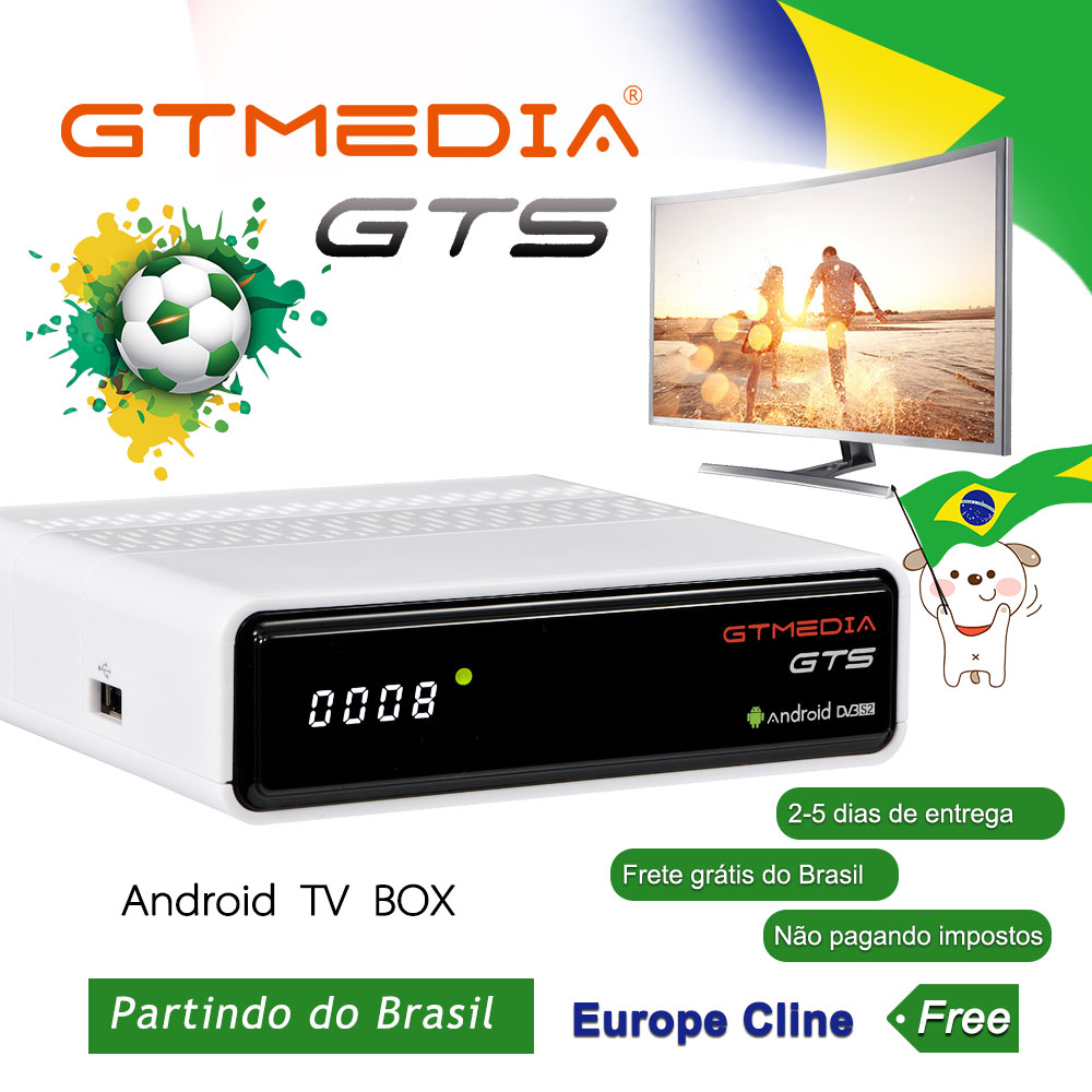 M3U GTmedia GTS Android Satellite Receiver Frete De Brasil DVB-S2 Tv Box Brazil IPTV CCcam Support Full Hd H.265 GTMEDIA GTS