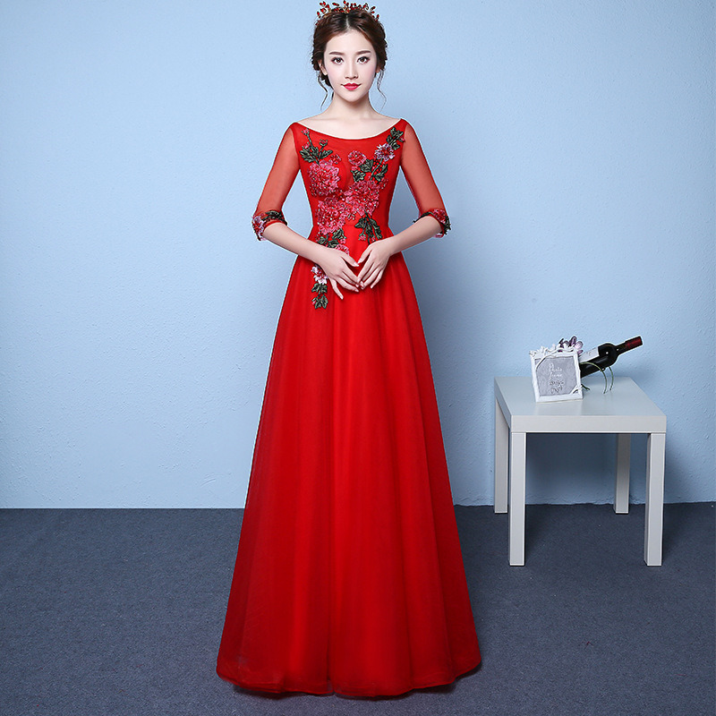 Red Long Burgundy Bridesmaid Dresses Lace Appliques O-Neck Wedding Guest Dress Ball Gown Long Dress For Wedding Party For Woman