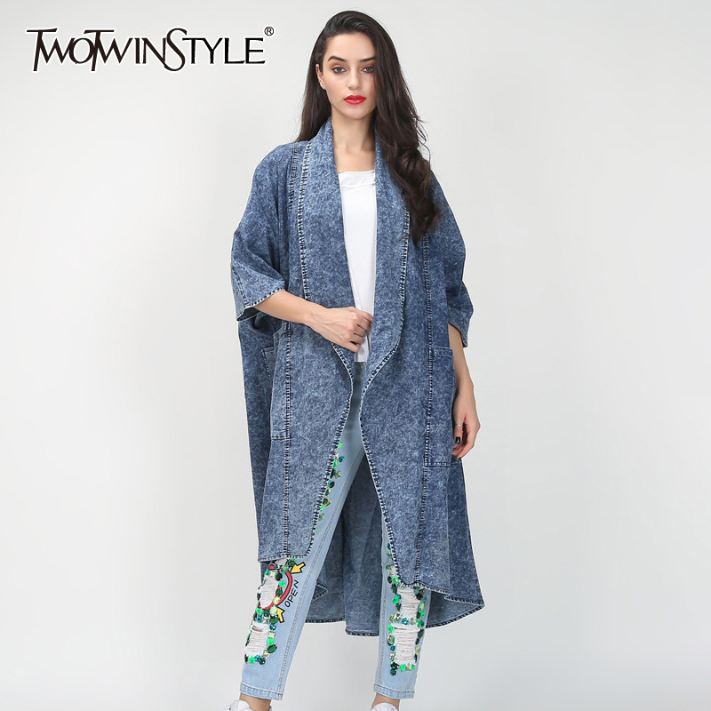 TWOTWINSTYLE Denim Women's Windbreaker Lapel Collar Half Sleeve Pocket Female Trench Coats 2020 Autumn Fashion New Clothing