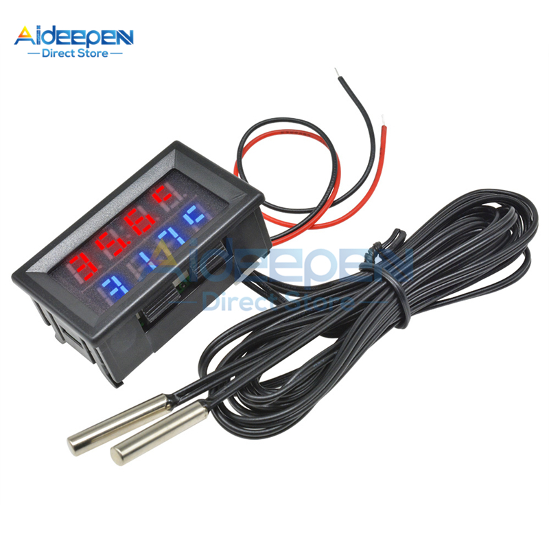 Mini DC4-28V Digital Thermometer With NTC Waterproof Metal Probe Temperature Sensor Tester Car Room Indoor Red+Blue Dual Display