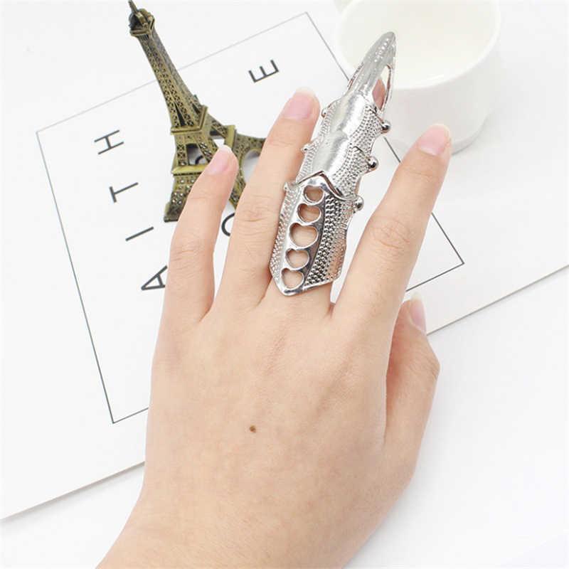 Anillos para Mujeres Hombres Steampunk partido garra anillo falso talón dedo completo uñas gótico moda Retro Rock oro plata regalo
