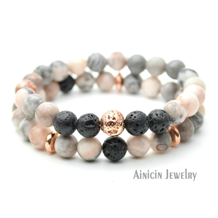 5 Sets Natural Semi-precious Stone Black Lava Rose Gold Plating 8mm Beaded Strand Bracelets For Men and Women Jewelry