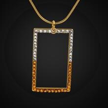 Модное прямоугольное ожерелье чокер с кулоном из фианита для