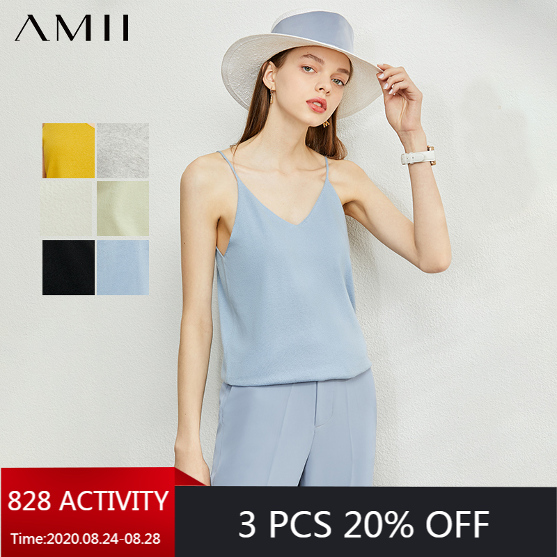 AMII Minimalism Spring Summer Knitted Soft Solid Vest tops Women Causal Vneck sleeveless Camisole Top Women 12040170