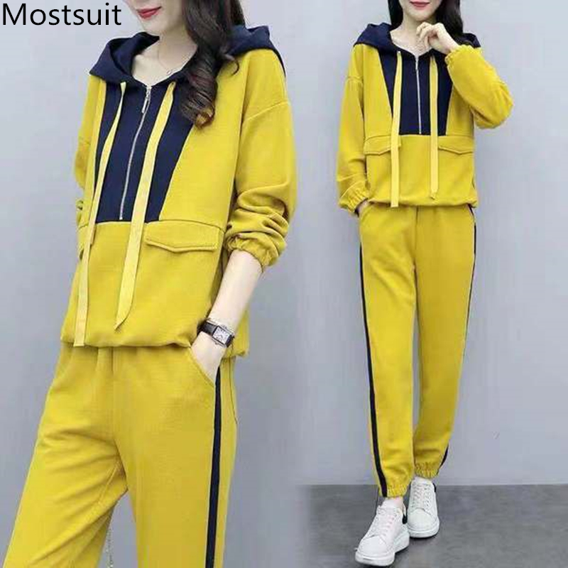 Plus Size Yellow Sport Two Piece Outfits Sets Tracksuits Women Hooded Sweatshirt And Pants Suits Casual Fashion Korean Sets 2019 27