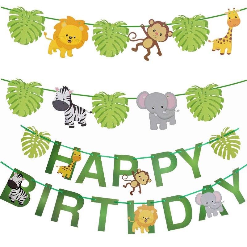 Бумажный баннер в виде животных для вечевечерние НКИ в джунглях, украшения на 1-й день рождения, детская гирлянда в стиле сафари для вечеринк...