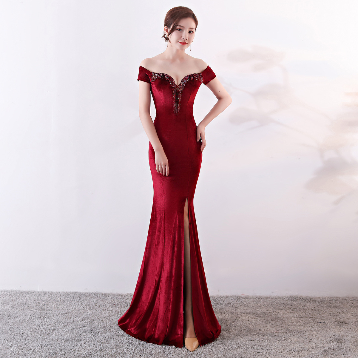 Velvet Long Evening Dress 2020 Off Shoulder Robe De Soiree Party Ladies Sexy Noble Prom Slit Vestido Largo Fiesta Noche Elegante