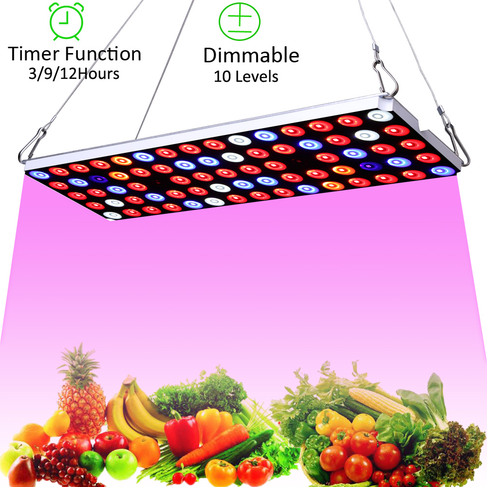 JCBritw LED Grow Light Panel Full Spectrum Dimmable With Timer Plant Growing Lamps 30W For Indoor Plants Hydroponic Greenhouse