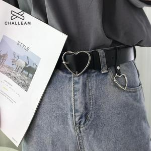 Fashion Women PU Leather Belt Heart Female Cute Black Harajuku Belt Ladies Pants Party Dress Heart Belts For Jeans 149