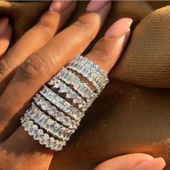 Vecalon Eternity pierścień przyrzeczenia 925 srebro 3 wiersze Pave AAAAA Cz komunikat obrączka pierścionki dla kobiet mężczyzn biżuterii tanie i dobre opinie SILVER Kobiety Cyrkonia Klasyczny Zespoły weselne Geometryczne 12mm Wszystko kompatybilny Prong ustawianie Moda Ślub S925