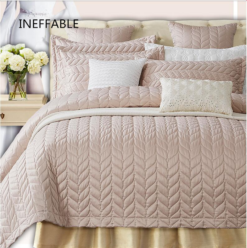 European 3 5pcs Quilted Air Conditioner Soft Installed Light Lmitate Silk Bed Cover Bedspread Pillowcase
