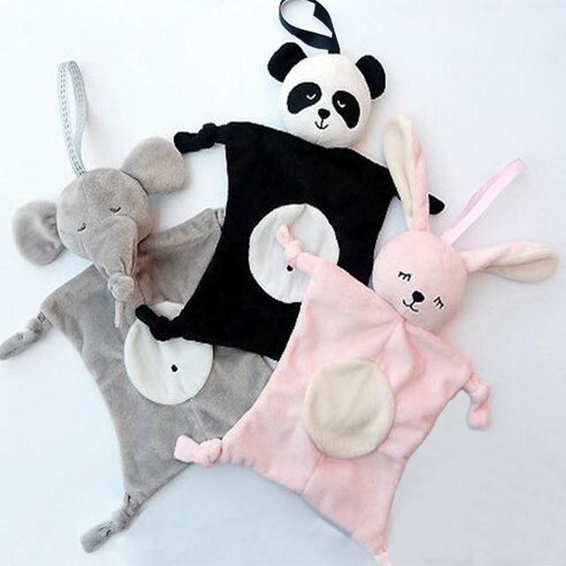 28*28cm Cartoon Elephant Rabbit Bear Baby Plush Dolls Saliva Towel Comforter Toys for Children Multi-function Baby Towels Wipes 1