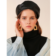 Exaggerated square big earrings female European and American new tide net red retro baroque Winter exaggerated