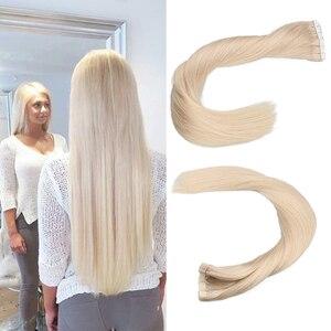100% натуральные человеческие волосы Toysww, русские волосы на ленте для наращивания волос, блонд #60 для женщин, волосы без повреждений машинной ...