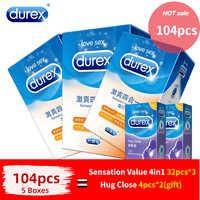 Durex preservativos ultra fino natural látex pênis pênis manga mista 4 tipos prazeres extra lubrificado preservativo sexo brinquedos para homem