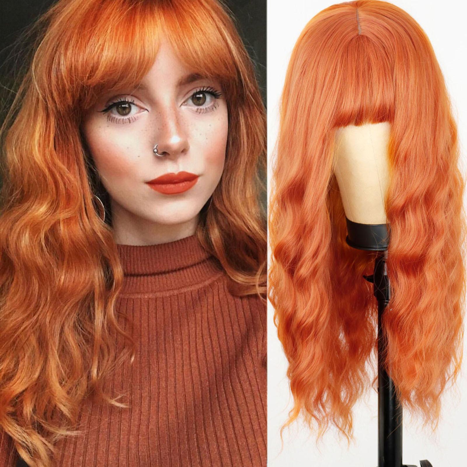 "24 ""longa peruca laranja com franja peruca ondulada de água peruca de fibra sintética peruca longa das mulheres cosplay/diário/festa peruca"