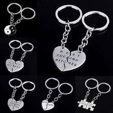 Quebra-cabeça de amizade, pingente de coração, chaveiros, melhores amigos, bff, amor, acessórios de joias