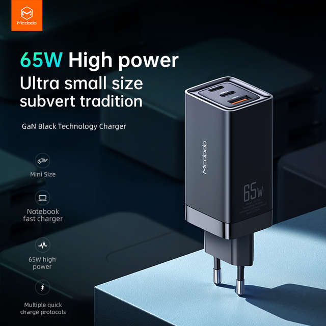 Mcdodo 65W GaN USB Charger Quick Charge 4.0 Type C PD Charger Portable mini Fast Charger For iPhone X Xiaomi Macbook Pro Laptop