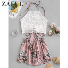 ZAFUL Lace Panel Floral Halter Two Pieces Suit Chic High Waist Sleeveless Women's Sets
