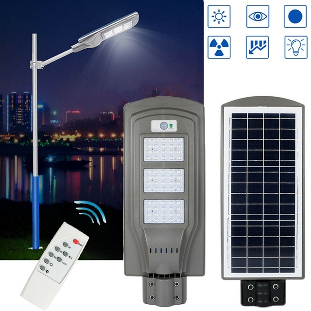 60W Solar Street Light With Remote Controller and Light Arm Waterproof Outdoor Garden Pathway Parking Lot Light 3