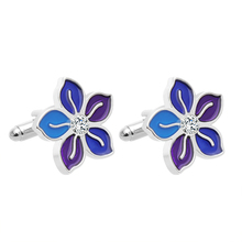 Fashion Beautiful New Orchid Blue Color Cufflinks Zinc Aalloy Business Temperament Mens High Quality Jewelry