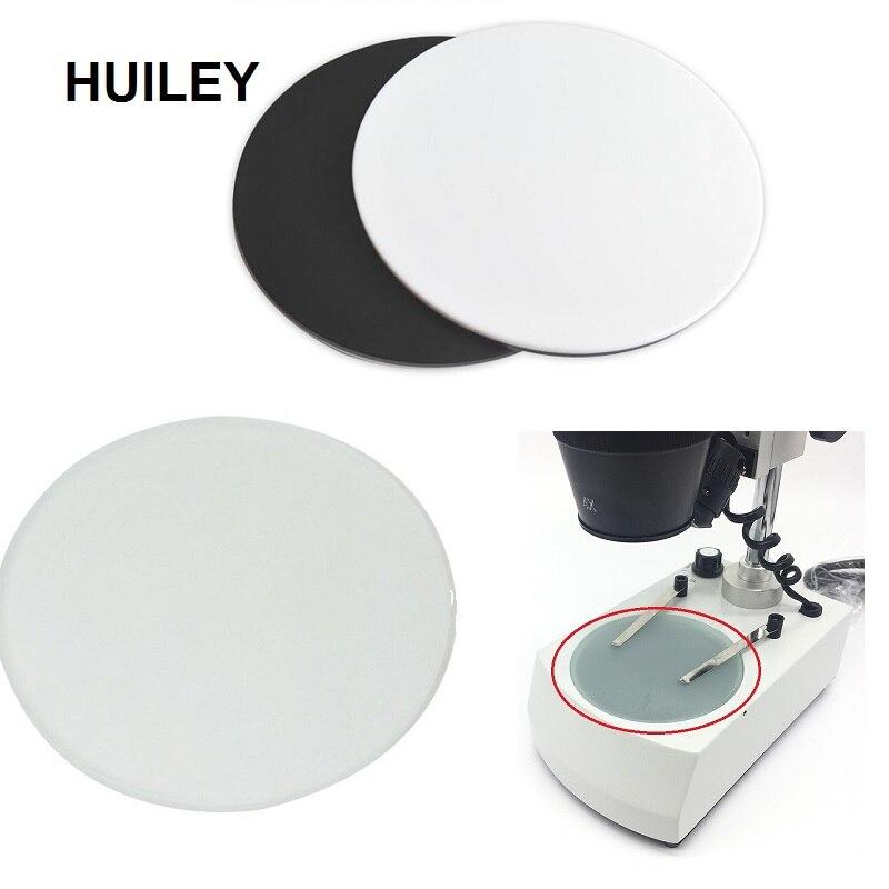 סטריאו מיקרוסקופ עבודה שלב שקוף שקוף דגימה עגול צלחת חלבית זכוכית לבן שחור פלסטיק עבודה לוח