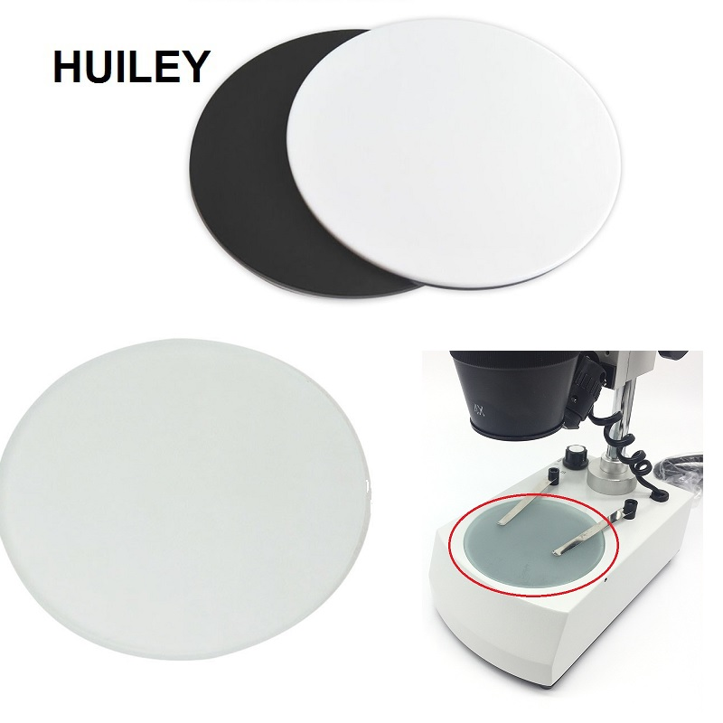 Stereo Microscope Working Stage Transparent Translucent Round Specimen Plate Frosted Glass White Black Plastic Work Board