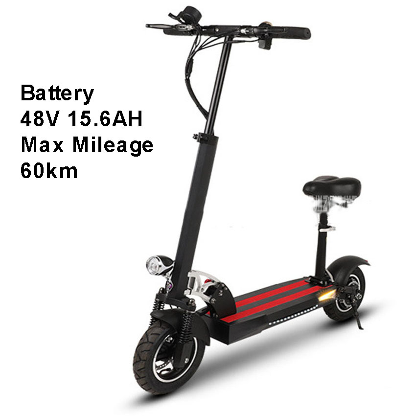 Spor ve Eğlence'ten Elektrikli Bisiklet'de 10 inç Tekerlek Katlanabilir Elektrikli Scooter Kaykay Taşınabilir Yetişkin Mini Elektrikli Bisiklet Koltuk 48V 15.6AH Max Kilometre 60km title=