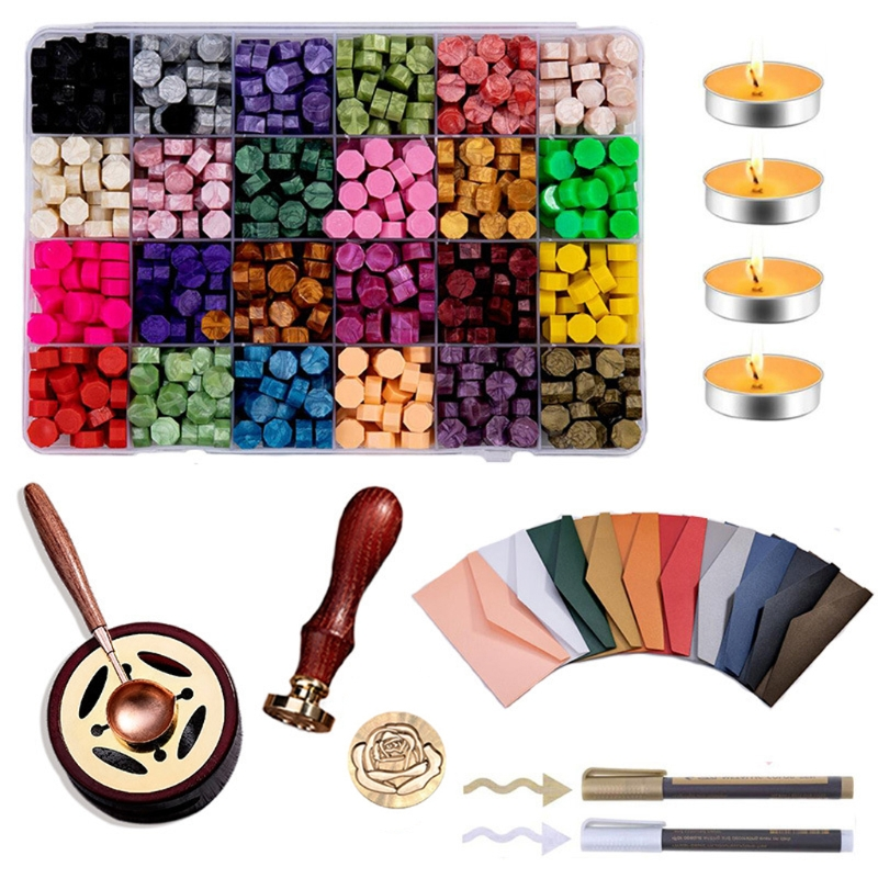 Business Set Sealing Wax Kit, 24 Colors Wax Seal Beads Set with Melting Furnace Candles Wax Seal Stamp Melting Spoon