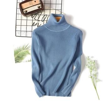 Basic Turtleneck Sweater Women Autumn Winter Knitted Tops Slim Long Sleeve Sweater Thin Pullover Jum